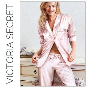 Victoria Secret Pink Striped Satin Pajamas
